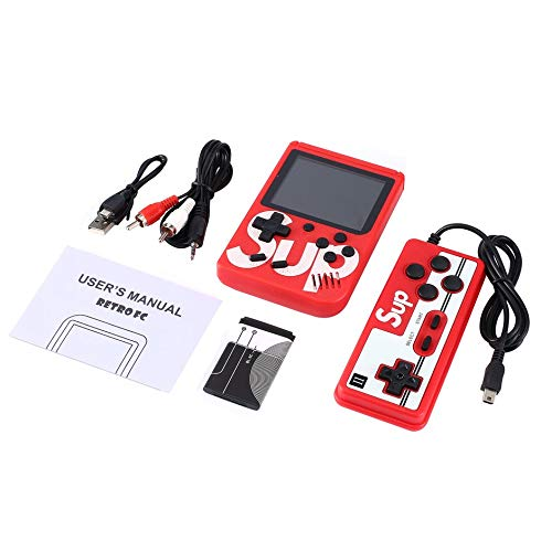Jullyelegant SUP 400 Giochi Emulatore di Console di Gioco Mini Gameboy retrò di Marca Batteria incorporata 8 Giocatori Doppi Giocatori - Rosso