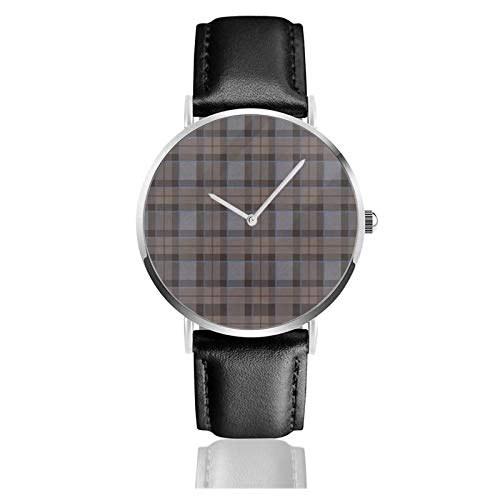 Reloj de cuero Fraser Caza Tartan Plaid Outlander Unisex Clásico Casual Moda Reloj de Cuarzo Reloj de Acero Inoxidable con Correa de Cuero
