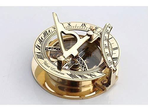 Nautical Replica Hub Kompass mit Sonnenuhr, aus Messing, nautisches Design, Geschenk