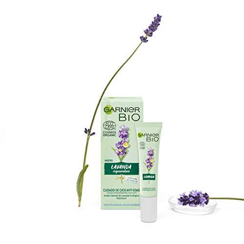 Garnier BIO Crema Antiedad para el Contorno de Ojos con Aceite Esencial de Lavanda Ecológico y Vitamina E Hidrata y regenera la piel - 15 ml