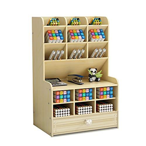[シャンディニー] 卓上収納ボックス 引き出し 木製 大容量 ペン立て ペンスタンド ペン入れ 卓上 ホワイト