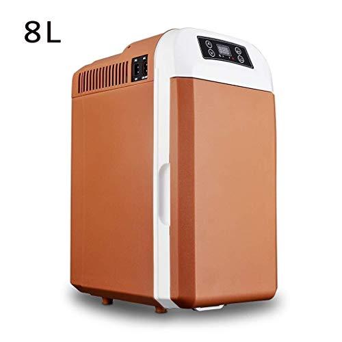 Lyy - 8866 Kühlschrank Kühl Gefrier Gefrierschrank Auto kühlschrank, tragbare Thermoelektrische Kfz-Wärme- & Kühl-Box, 8 L, 12V, 220V, für Auto und Camping Autokühlschrank (Color : Brown)