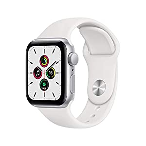 """最新 Apple Watch SE(GPSモデル)- 40mmシルバーアルミニウムケースとホワイトスポーツバンド"""""""