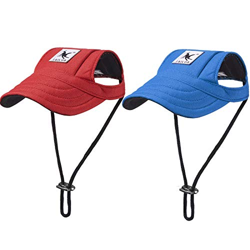 2 Pieces Dog Baseball Caps Dog Visor Hats Pet Outdoor Sports Hats with Ear Holes and Sun Protection Pet Baseball Caps with Adjustable Chin Strap for Small Dogs (Red, Blue)