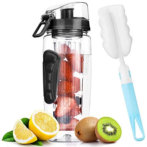Fruit Infuser Water Bottle 32 OZ, Large Water Bottle Infuser for More Flavor, Durable BPA Free Tritan, Flip Lid, Leak Proof, Cleaning Brush and Recipe for Home Sports Outdoors