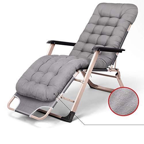 Lit pliant déjeuner lit siesta lit bureau inclinable maison lit simple lit de camping chaise pliante avec coton confortable pad (Couleur : Gray)