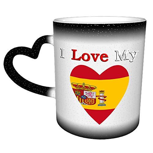 Taza de café de cerámica divertida de I Love My Flag Of Spain de 11 oz, taza de café de Navidad de cumpleaños única