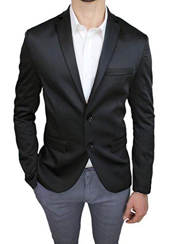 Giacca Uomo Sartoriale Tessuto Raso Nero Lucido Slim Fit Elegante (XS)