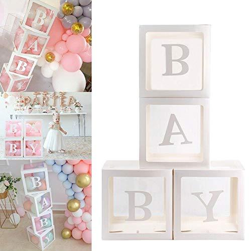 Liamostee 4-delig/set baby shower party decor ballon box transparant karton