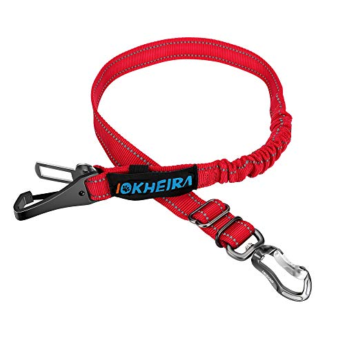 IOKHEIRA Dog Seatbelt, Updated Dog Seat Belt, Reflective Bungee Dog Car Harness, Multifunctional Pet Safety Belt with Hook Latch & Seatbelt Buckle, Swivel Aluminum Carabiner, Red