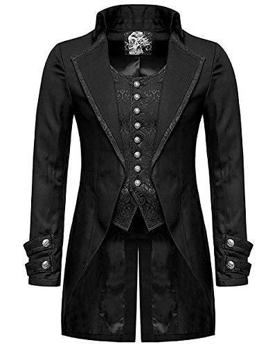 Punk Rave Chaleco gótico para hombre, estilo victoriano, color negro