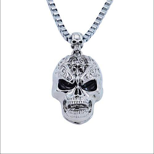 nice cheng Collar De Hombre No Convencional De Calavera Malvada K1064 Collar Largo De Hip Hop