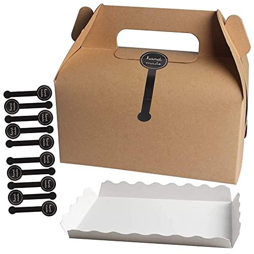 Tomedeks Cajas Para Pasteles De Carton 10 Piezas Con Compartimento De Papel...