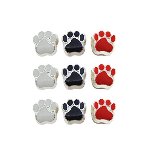 Julie Wang 90pcs Mixed Emaille Katze Hund Pfote Footprint Perlen für European Charm Bracelet 11x11mm großes Loch schwarz weiß rot