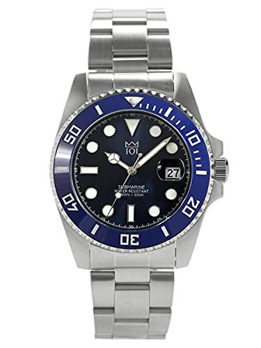 [HYAKUICHI 101] 20気圧防水 ダイバーズウォッチ セラミックベゼル カレンダー 腕時計 メタルバンド メンズ (ブルー×ブルー)