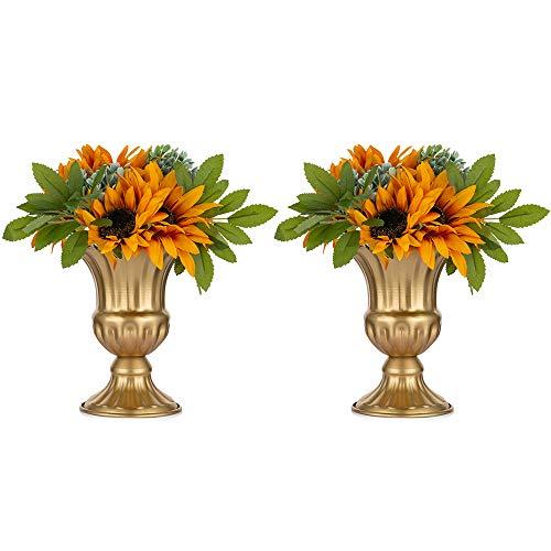 Nuptio 2 Stück Geblümten Metall Urne Pflanzer Elegante Hochzeit Mittelstücke Vase für Hochzeitsfeier Dekoration, 16cm Hoch Trompete Vase Blumenhalter für Jubiläumsfeier