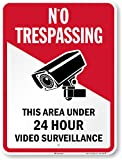 """SmartSign 24 x 18 inch """"No Trespassing - This Area Under 24 Hour Video Surveillance"""" Metal Sign, 80 mil Aluminum, 3M Laminated Engineer Grade Reflective Material, Red, Black and White"""