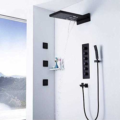 BXU-BG 4 Función Todo Cobre mosca de la lluvia cinta giratoria de la boca del grifo de cobre temperatura constante baño de ducha Conjunto Cascada superior cuadrada de pulverización manual Sistema Herm