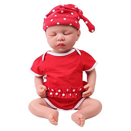 IVITA Reborn Babypuppe Ganzkörper Silikon Schlafen Wirklich Neugeborenes Babypuppe Ganzkörper Silikon Baby Doll Augen Geschlossen Babypuppe (WG1507-46cm-3254g-Mädchen)