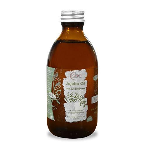 100% Pure Golden Jojoba Oil 250ml - Cold Pressed,Unrefined, Vegan, Hexane Free, No GMO. A Perfect Aromatherapy and Massage Base Oil 250ml…