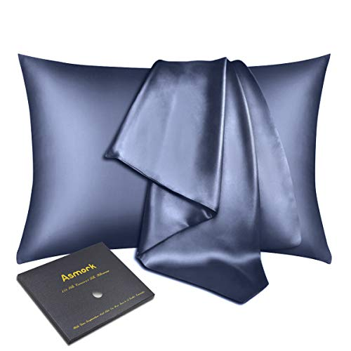 Asmork 100% Mulberry Silk Pillowcase for Hair and Skin, Both Side 22mm Natural Silk Pillowcase Cover, Hidden Zipper, Comfortable & Luxury, 1PC (Flint Blue, Standard 20''×26'')