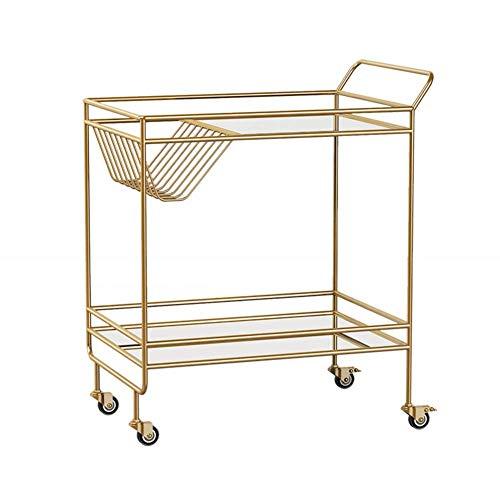HIGHKAS Modernes Design 2 Ebenen Küchenwagen Servierwagen, Rolling Bar Cart, Move Storage Kaffee-/Weinbuffet Cart Island Shelf Mobiler Kleiner Couchtisch