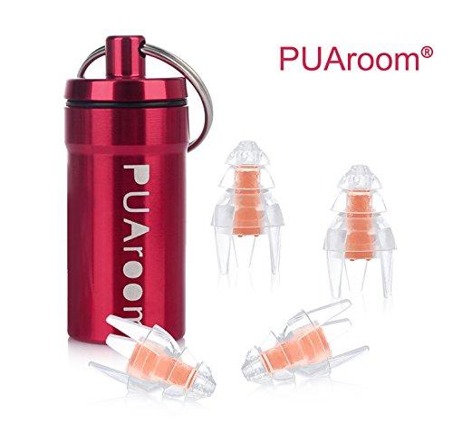 PUAroom SwimmingPro Tapones para los oídos Tapones para los oídos de protección auditiva a Prueba de Agua de Silicona Suave para baño con Mini Botella de Transporte de Aluminio (2 Pares)
