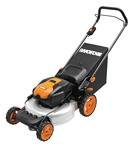 WORX WG772 56V Lithium-Ion 3-in-1 Cordless Mower with IntelliCut, 19-Inch, 2 Batteries and Charger Included,Orange and Black