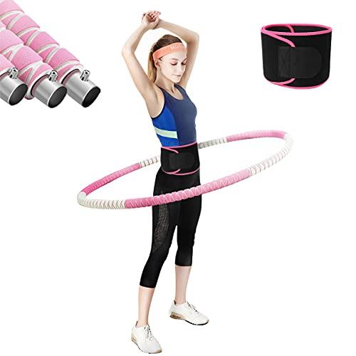 MOZX Hula Hoop Adultos, Hula Hoop Fitness Desmontable De Acero Inoxidable con Cinturón De Fitness, Hula Hoop para Reducción De Peso con Espuma De Primera Calidad para Reducción De Peso Y Masaje