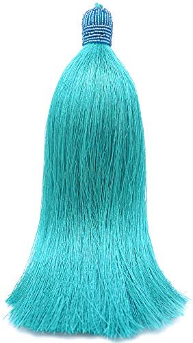Extra Long Silky 10 Inch Tassel with Beaded Head and Hanging Loop for Home Furniture Interior Décor Craft Accessory DIY Turquoise
