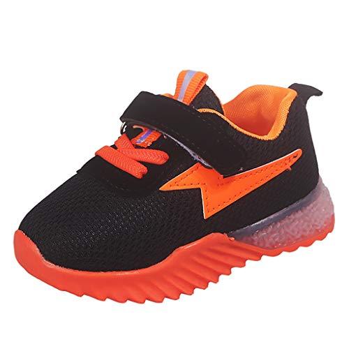 Lazzboy Kinder Baby Mädchen Jungen Atmungsaktives Mesh Led Luminous Sport Run Sneakers Schuhe Sneaker Hallenschuhe Sportschuhe Turnschuhe Laufschuhe Schnürer Freizeit(Orange,23)