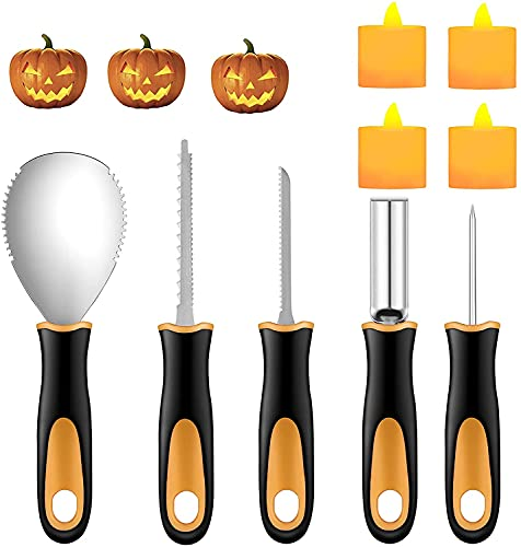 Halloween Pumpkin Carving Kit, 5 Pieces Heavy Duty Professional Stainless Steel Carving Tools Set for Halloween Decorations, Included 2 LED Candles