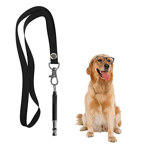 Hivernou Dog Whistle to Stop Barking,Adjustable Pitch Ultrasonic Dog Training Whistle Silent Bark Control for Dogs- 1 Pack Black Dog Whistle with 1 Free Lanyard Strap
