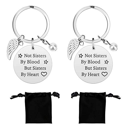 Selizo 2 Pack Best Friend Gifts Keychain Not Sisters by Blood but Sister by Heart Key Chain Perfect Friendship Birthday Graduation Christmas Gifts for Women Teens Girls Sisters