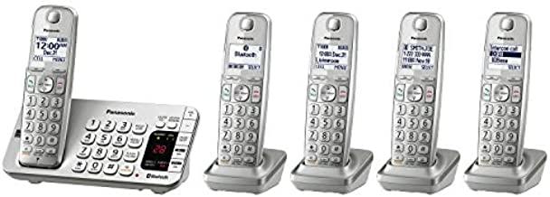 Panasonic Link2Cell Bluetooth Cordless DECT 6.0 Expandable Phone System with Answering Machine and Enhanced Noise Reduction - 5 Handsets - KX-TGE475S (Silver)