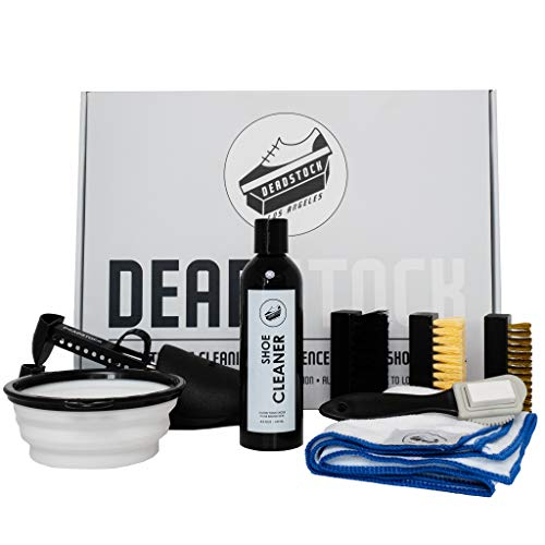 Deadstock Los Angeles Shoe Cleaner Kit - Sneaker Cleaner Ultimate Cleaning Experience: 4 Brush Cleaning System that includes: 8oz sneaker cleaning solution, 4 brushes, 2 shoe trees, microfiber mat