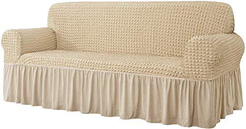 JIAYOUFC Fundas universales para sofá, 1 Pieza, Protector de Muebles Multiusos para sofá, Tela de Seersucker Lavable de Alta Elasticidad y Durabilidad, con Falda (Caqui Claro, 2 plazas / sofá de
