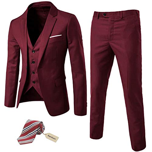 MY'S Men's 3 Piece Slim Fit Suit Set, One Button Solid Jacket Vest Pants with Tie Burgundy