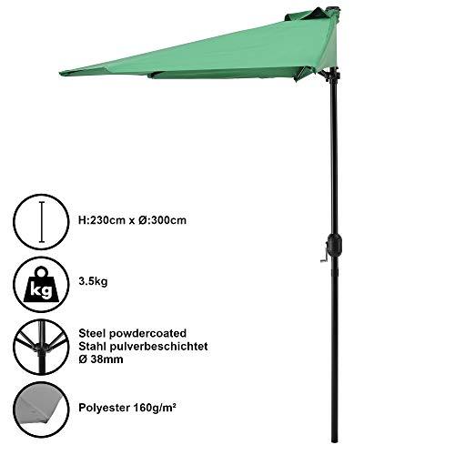 [casa.pro] Parasol halfrond voor balkons of terrassen - groen