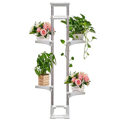 BAOYOUNI Innen Teleskop Blumenregal 4 Ebenen Blumenständer aus Metall Doppelstange Spannregal Fensterbank Pflanzenständer Blumentreppe pflanzenregal Regal Höhenverstellbar 92 bis 160cm, Elfenbein