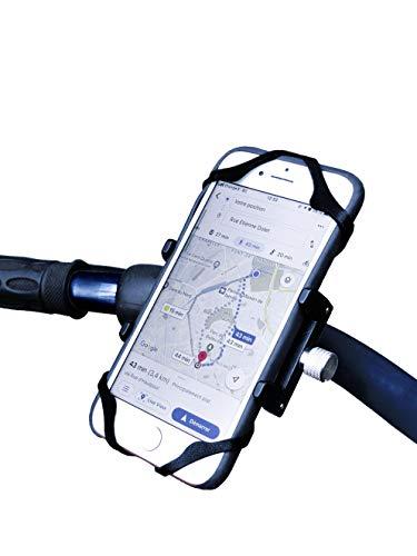 Soporte de teléfono para bicicleta con red de seguridad de silicona + tornillos antirrobo universales de aleación de aluminio, compatible con iPhone X XR Xs 7S 8, Samsung