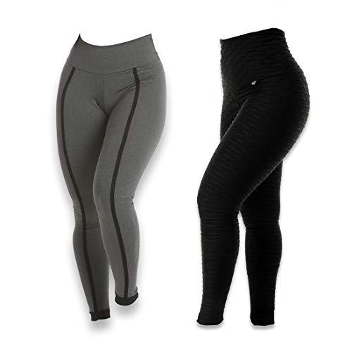 Kit 2 Calças Legging Feminina Bubble Preta/Kaya Cinza com preto