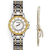 Smalody Womens Wristwatch with Bracelet Jewelry Set, Elegant Watches Women Stainless Steel Ceramics Strap Watches Ladies Fashion Casual Quartz Watch (Silver-Gold)