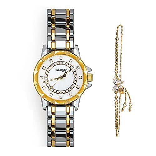Smalody Juego de Pulsera y Reloj de Pulsera para Mujer, Elegantes Relojes para Mujer, de Acero Inoxidable, con Correa de cerámica, Reloj de Cuarzo Informal a la Moda para Mujer