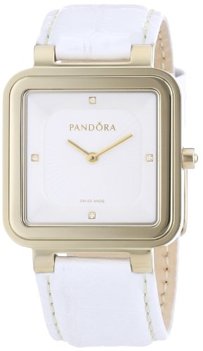 Pandora 812031WH - Reloj analógico de mujer de cuarzo con correa de piel blanca