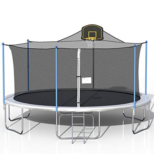 16FT Trampoline para niños Escalera y 8 estacas de viento Troll al aire libre con caja de seguridad Net Amateur Trampoline Alojamiento al aire libre y de baloncesto interior y bola (Entrega dentro de