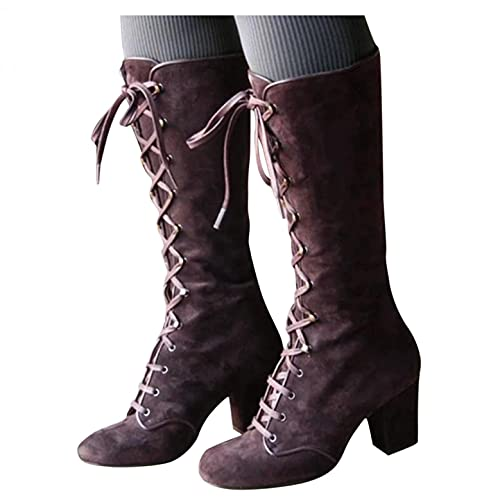 Cowboy Boots for Women with Chunky Low Heel Cowgirl Boots Mid-Calf Fashion Vintage Embroidery Combat Military Riding Boots