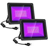 XYCN 2 Pack 100W LED Black Light, Blacklight Flood Light with Plug and Switch, IP66 Waterproof Black Flood Light Neon Glow for Glow Party, Halloween, Fluorescent Poster, Body Paint, Aquarium