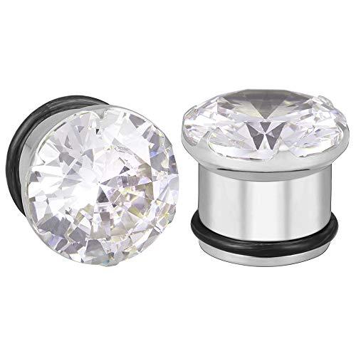 """ZeSen Jewelry Tapones de oído quirúrgicos de acero calibre individual llamarada CZ clara con O-Ring Camilla Expander Perforación Gauge = 1/2"""" (12 mm)"""