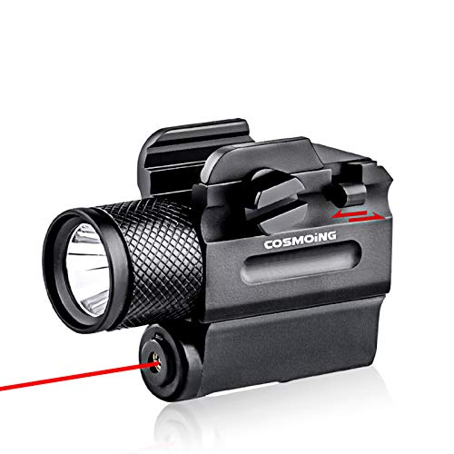 COSMOING Pistol Red Laser Light Combo (Laser Sight Combo) & 600 Lumen Strobe Pistol Flashlight Rail Mount Gun Flashlight with Quick Release for Pistols Handguns,Gun Light,Pistol,Rifles